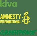 We support Kiva, Amnesty International, and Greenpeace